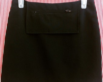 Black Mini Skirt with Front Pocket