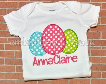 Personalized Polka Dot Easter Egg Child's T-shirt or Bodysuit--Girl's Easter Shirt--First Easter--Easter Egg Shirt for Girls