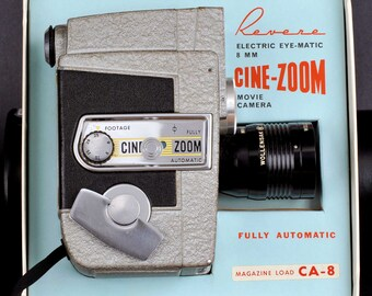 Revere Cine-Zoom 8 mm Movie Camera Mint In Original Box Collectible