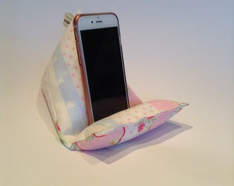 Mobile Phone Stand/ Phone Holder, Smartphone Cushion, Gift for Him, Gift for Her Clarke & Clarke Butterfly Stripe Fabric