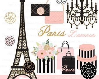 Paris Clipart / Paris and Fashion / Eiffel Tower / Paris / Fashion Clip Art - Instant Instant  Download - CA064