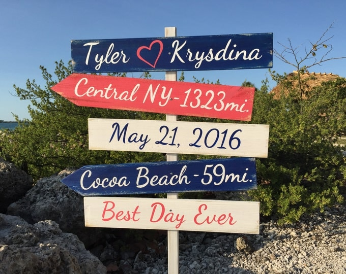 Beach Ceremony Decor, Best Day Ever Directional Arrow Wood Sign, Nautical Navy Welcome signage for wedding, Couples gift.