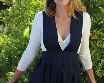 Vintage Navy Blue School Girl Dress Size XS