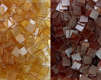 Resin mosaic tiles, 10x10 mm, Clear effect, Mixed Brown