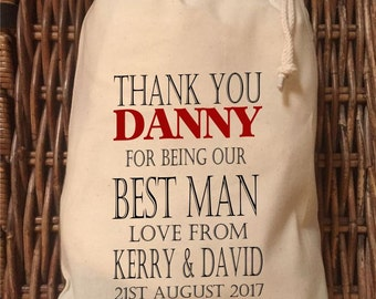 Personalised Best Man Wedding Gift Bag - Various Sizes Available Danny Design