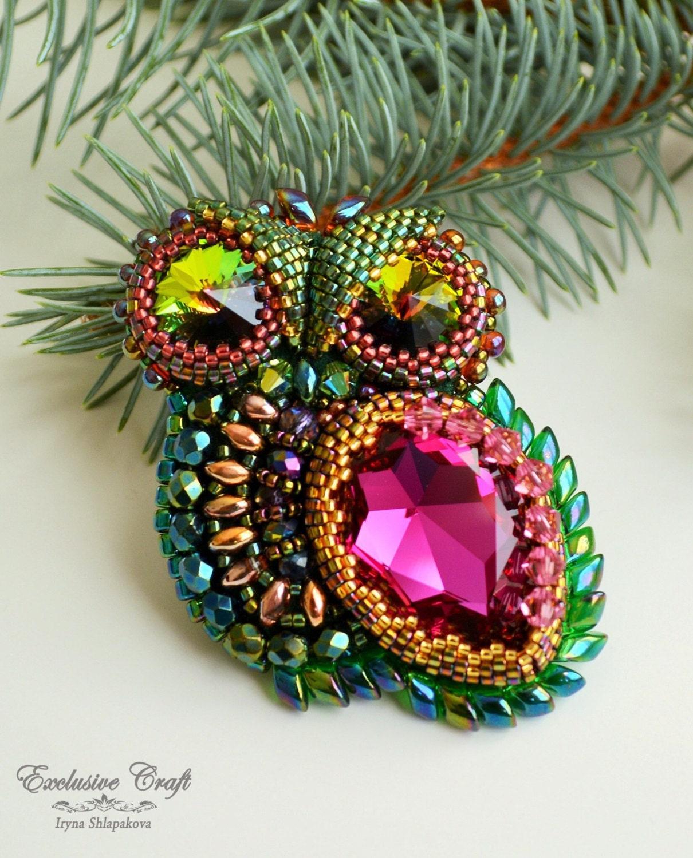 Bead embroidered brooch pendant owl handmade beaded