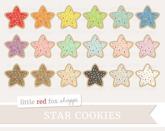 Star Cookie Rainbow Sprinkles Clipart, Cookie Clip Art Frosting Dessert Cooking Baking Cute Digital Graphic Design Small Commercial Use