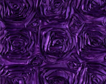 Satin rosette fabric purple. Sold by the yard.