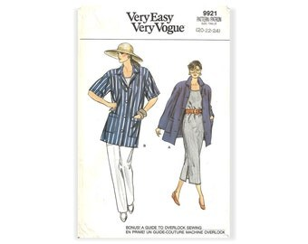 Vtg 80s Very Easy Vogue 9921 Sewing Pattern Misses Loose Fitting Shirt Pullover Dress Sleeveless Top and Tapered Pants sz 20 thru 24 Uncut