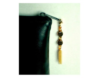 Bead Zipper Charm With Gold Chain Tassel, Amber Brown Beaded Bauble, Purse Embellishment, Clutch Adornment, HandBag Glitz, Back Pack Bling
