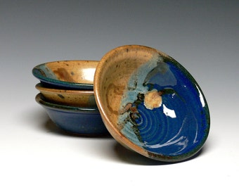 Yogurt Bowls, Hand Thrown Ice Cream Bowls - Set of 4, Pottery Prep Bowls, Stoneware Dip Bowls