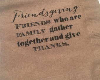 Friendsgiving Thanksgiving Kraft Set of 25 Cocktail Napkins-READY TO SHIP!