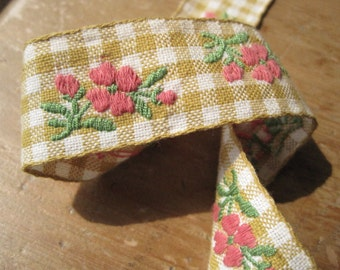 Hand embroidered 1950s vintage cotton gingham old new stock, German