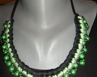 Handmade crochet jewelry, necklace in green and black.