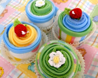 Washcloth Cupcakes, Set of 8 Washcloth Cupcakes, Baby Shower Gift, New Baby Gift, Girl, Boy, Gender Neutral.