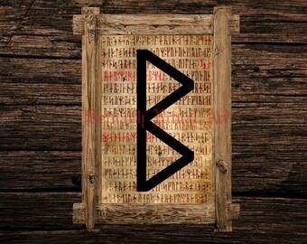 Berkano print, rune illustration, Elder Futhark art, viking home decor, magical illustration, esoteric, magic, occult canvas poster #339.18