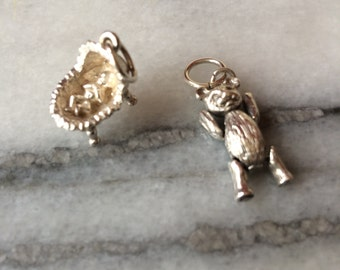Two-Vintage-Sterling Silver-Charms-Baby-Teddy Bear-Charm bracelet-Pendant-Baby shower gift-Gifts for her