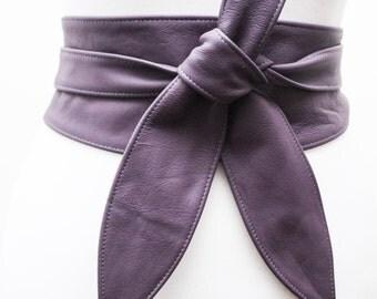 Purple Leather Tulip Tie Obi Belt | Waist or Hip Belt | Leather tie belt | Corset Leather Belt| plus size