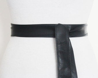 Black Leather Obi Belt, Black Sash Belt,  Black Obi belt, Thin Black Leather Belt,  Wrap Belt, Tie Belt, Black Waist belt, Plus Size Belt