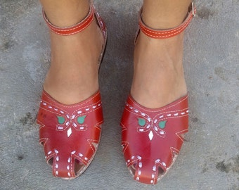 "Leather Sandals Handmade DArk Orange Leather Shoes Vintage Style Leather Shoes Summer ""BONECA"""