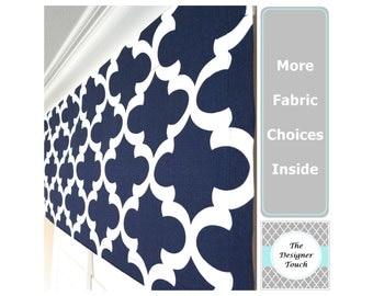 Navy Blue Valance.Blue Curtain Valance.Navy Valances.Kitchen Valance.Window Treatment Valance.Blue Valances.Nautical Valance