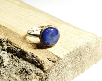 Wooden ring, natural wood ring, unique gift, wood jewelry, eco friendly ring, blue ring, wood gem 12 mm (0348)