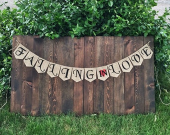 COUPLE SHOWER DECOR Fall in Love Banner Bridal Shower Banner Fall in Love Garland Indoor Fall Decor Fall in Love Wedding Garland Love Banner