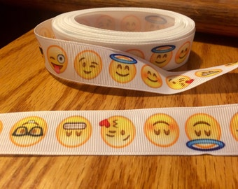 "7/8"" emoji grosgrain ribbon-3 yard cuts"
