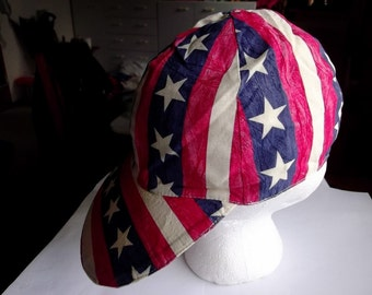 Patriotic Cap is Red White and Blue Cap and Red White and Blue Necklace