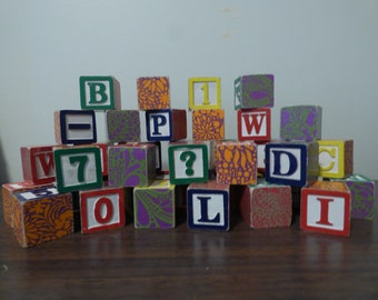 Set of 40 new children's wooden alphabet blocks up cycled. Perfect for nursery/christmas gift/toddler