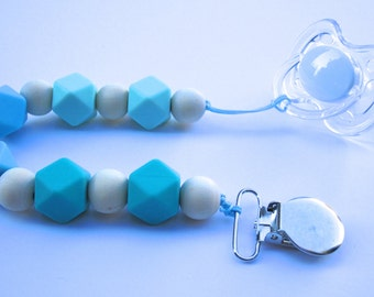Ombre Silicone & Wood Bead Pacifier/Binky Clip