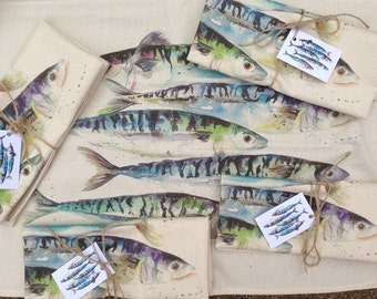 designer contemporary Mackerel   fish  tea towel , 100%cotton made in uk , by designer and artist nicola jane rowles