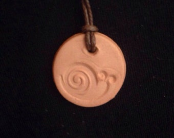 Natural Terra Cotta Clay Aromatherapy Pendant - Snail