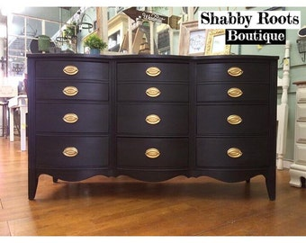 SOLD-Vintage bow front dresser. 9 drawer bedroom dresser. modern chic. black charcoal color with blue undertones gold hardware San Francisco