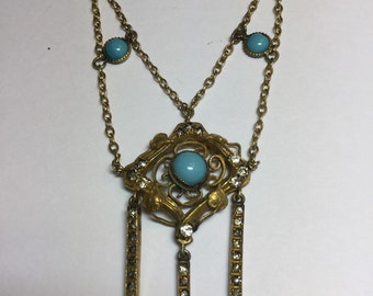 Vintage Art Nouveau Czech Gold Filled Rhineston and Turquoise
