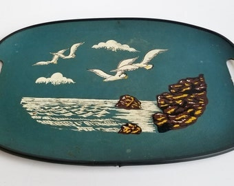 Oval Turquoise Tilsa Serving Tray w Nylon Wrapped End Handles