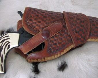 Vintage Brown Leather Holster - Revolver Holster - Basket Weave Leather Holster - Western Holster