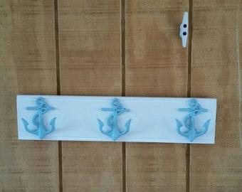 3 Anchor Towel Rack / Anchor Decor / Anchor Hook   / Anchor / Nautical/ hook/