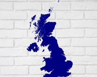 UK Map - Self adhesive matt vinyl wall map. 10 - 35 inches Wall Decour