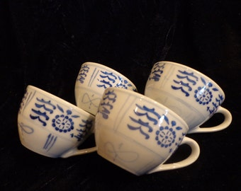 Set of 4 Chinese Teacups , Heavy China Blue White Teacups, Set of 4 Asian Style Teacups, Blue White China Cups