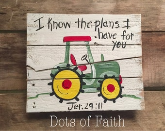 Tractor painting reclaimed wood
