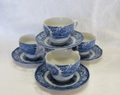 Liberty Blue Old North Church Cup and Saucer Sets/ Staffordshire Ironstone England/ Historical/ Blue & White/ Set of 4/ Replacements