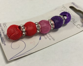 9pc Metal Mesh Rondelle Beads-Red, Pink & Purple