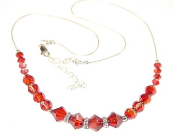 RED MAGMA Crystal Necklace Sterling Silver Swarovski Elements Handcrafted
