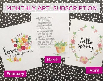 Monthly art print subscription