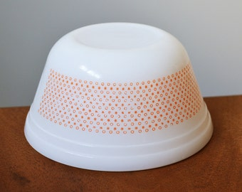 """Rare Federal Glass Dura-white Bowl with small Orange X's and O's pattern; starbursts. 6"""" Nesting, vintage batter bowl"""