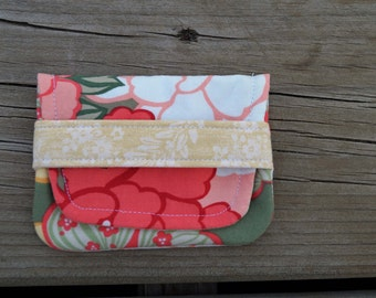 Card Wallet - Gift Card Holder - Mini Wallet - Gift Card Pouch - Business Card Wallet - Pink and  Green - Gift Under 10