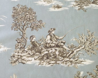 Spa Blue Cream and Natural Toile