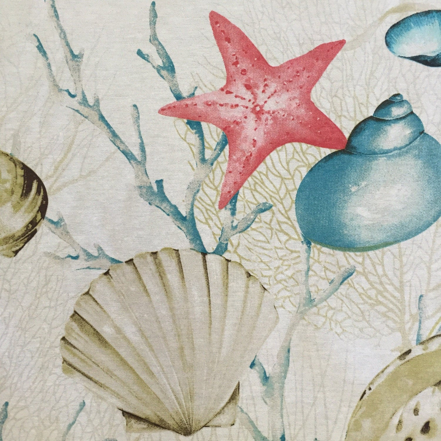 Dining Room Valances Aqua Coral Sand Shells And Coral Upholstery Fabric By