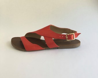 Brazilian Leather Slingback Sandals for Women in Red